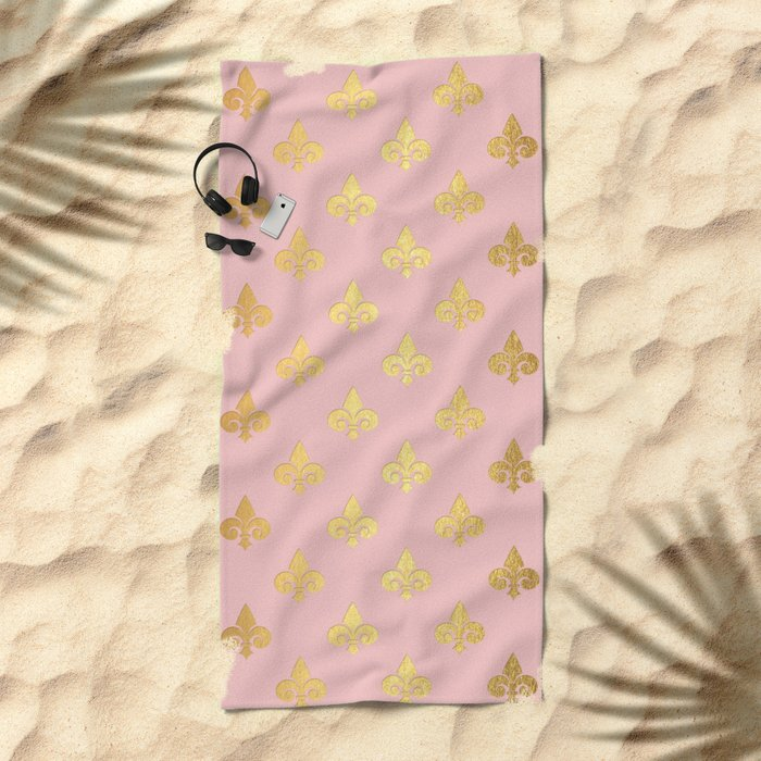 Royal gold ornaments on pink background Beach Towel