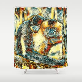 AnimalArt_Gibbon_20170901_by_JAMColorsSpecial Shower Curtain