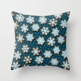Frosted Gingerbread on Winter Night Sky Throw Pillow