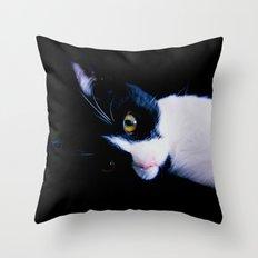 Black White Cat Throw Pillow