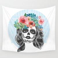 calavera Wall Tapestries featuring La Calavera Catrina by Jay Lee