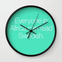 mean girls Wall Clocks featuring Mean Girls #7 – Swedish by Enyalie
