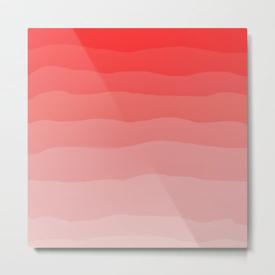 Red Strawberries and Cream Ombre Metal Print