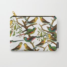 Colorful red green tropical birds parakeets pattern Carry-All Pouch
