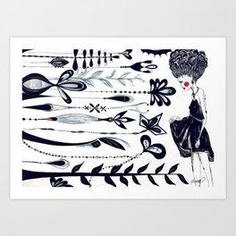 Diamonds and Flowers_01 Art Print