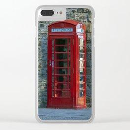 Red British phone box Clear iPhone Case