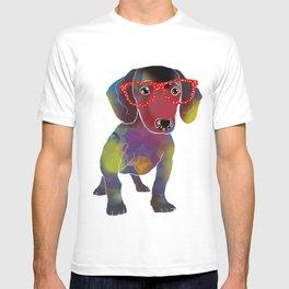 hipster dachshund T-shirt