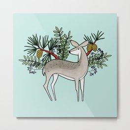 Deer with Pine - Seafoam Green Metal Print