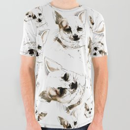Chihuahua watercolor pattern All Over Graphic Tee