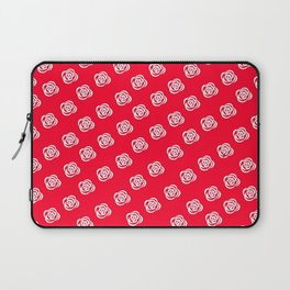 White Rose, Red Background Laptop Sleeve