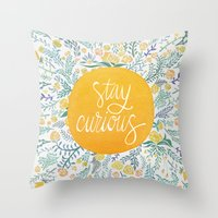 Throw Pillows featuring Stay Curious by Cat Coquillette