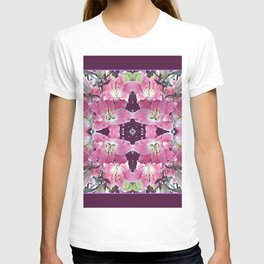 PINK SPRING LILY FLOWERS PURPLE GARDEN T-shirt