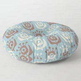 Mid Century Modern Retro Flower Pattern Blue and Brown 931 Floor Pillow