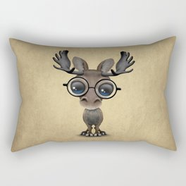 Cute Curious Baby Moose Nerd Wearing Glasses Rectangular Pillow