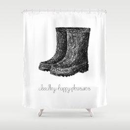 Rainboots Doodle Shower Curtain