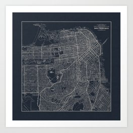 San Francisco Map in Navy Blue Art Print