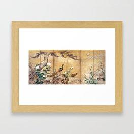 Kano Mitsunobu Birds, Trees, and Flowers Framed Art Print
