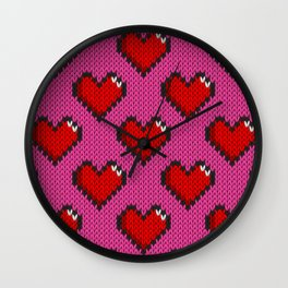 Knitted heart pattern - pink Wall Clock