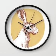 Yellow Hare Wall Clock