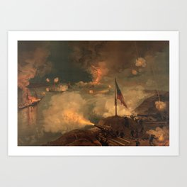 Civil War Battle of Port Hudson by J.O. Davidson (1887) Art Print
