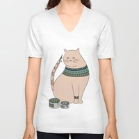 ethnic V-neck T-shirts featuring Ethnic cat by Emma S