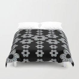 Black and Silver Floral Mandala Motif Textile Duvet Cover