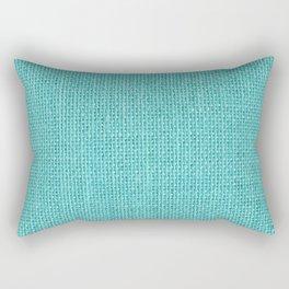 Natural Woven Aqua Blue Burlap Sack Cloth Rectangular Pillow