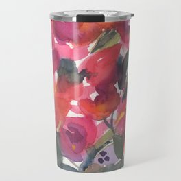 Red Orchid Splash Travel Mug