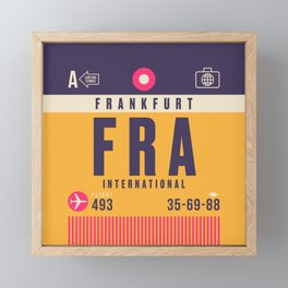 Retro Airline Luggage Tag - FRA Frankfurt Framed Mini Art Print