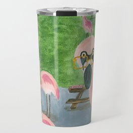Yard Flamingo BBQ Travel Mug