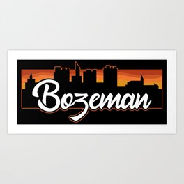 Vintage Bozeman Montana Sunset Skyline T-Shirt Art Print