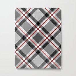 Large Modern Plaid, Black, White, Gray and Red Metal Print