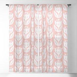 Mid Century Modern Flower Pattern Peach 333 Sheer Curtain