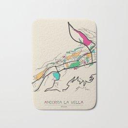 Colorful City Maps: Andorra la Vella, Andorra Bath Mat