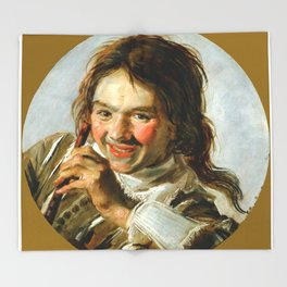 "Frans Hals ""Boy holding a Flute (Hearing)"" Throw Blanket"