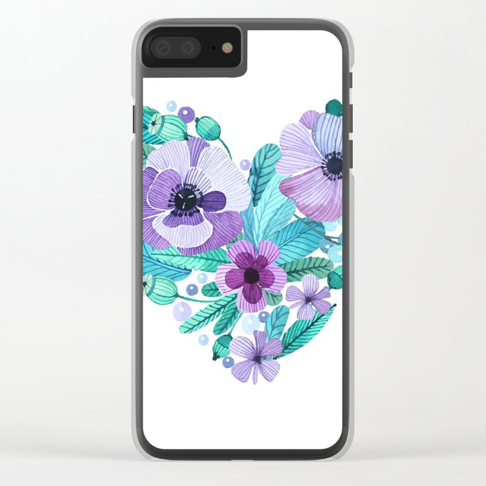 Flower heart Clear iPhone Case