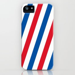 Blue, white and red stripes pattern iPhone Case