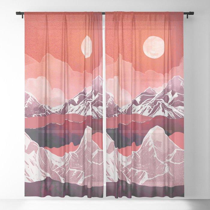 Scarlet Glow Sheer Curtain