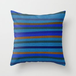 Denim Stripes in Blue, Tan, Cyan & Chocolate Throw Pillow
