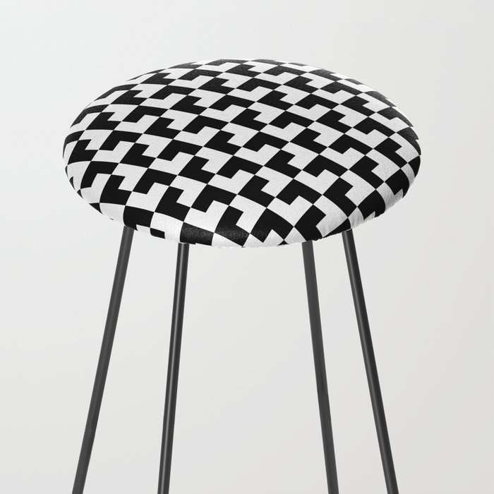 Black and White Tessellation Pattern - Graphic Design Counter Stool