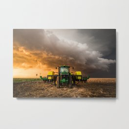 Farm Life - Tractor and Storm in Kansas Metal Print
