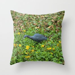 Light Blue Heron in Flowers Throw Pillow