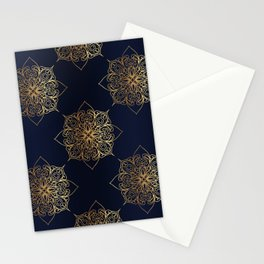 Gold and Navy Damask Stationery Cards