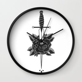 Dagger in Rose (Black) Wall Clock