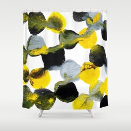 Yellow and Gray Interactions Shower Curtain