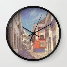 Portugal, a narrow street in Tavira Wall Clock