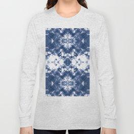 Shibori Tie Dye 4 Indigo Blue Long Sleeve T-shirt