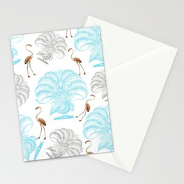 Vintage blue gray orange flamingo peacock drawing Stationery Cards