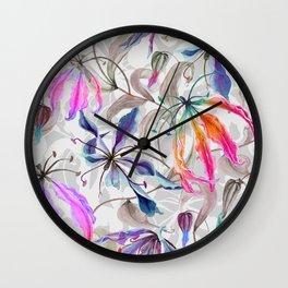 Beautiful gloriosa lily flowers with climbing leaves pattern Wall Clock