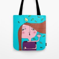sarah paulson Tote Bags featuring Sarah by Alfonnew Shop